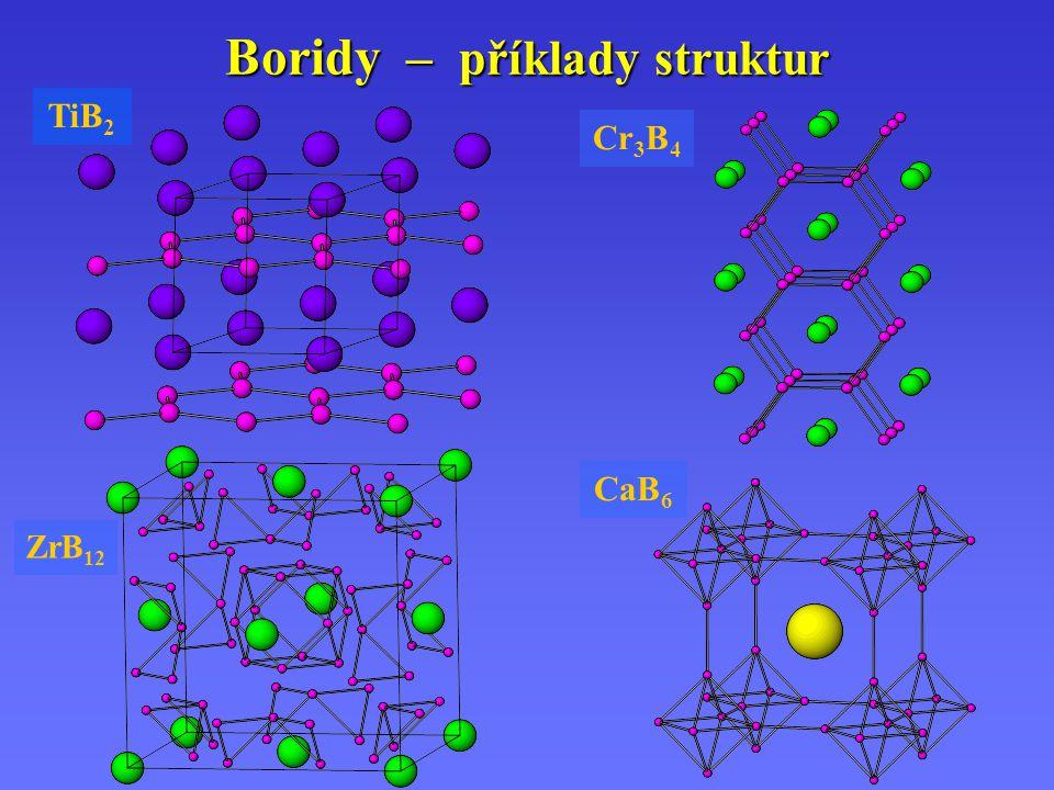 Boridy – příklady struktur TiB 2 Cr 3 B 4 CaB 6 ZrB 12