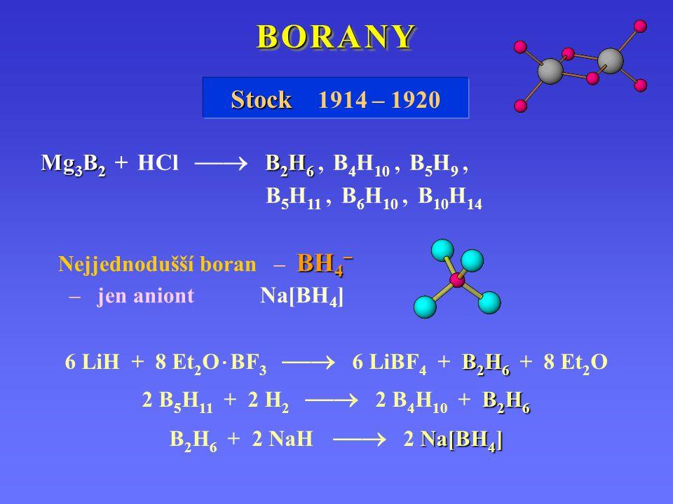 B O R A N YB O R A N YB O R A N YB O R A N Y B O R A N YB O R A N YB O R A N YB O R A N Y Stock Stock 1914 – 1920 Mg 3 B 2 B 2 H 6 Mg 3 B 2 + HCl  B