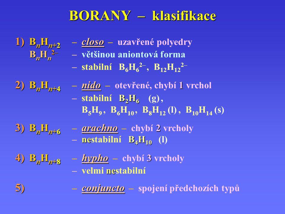 BORANY – klasifikace 1) B n H n+2 closo 1) B n H n+2 – closo – uzavřené polyedry B n H n 2– B n H n 2– – většinou aniontová forma – stabilní B 6 H 6 2