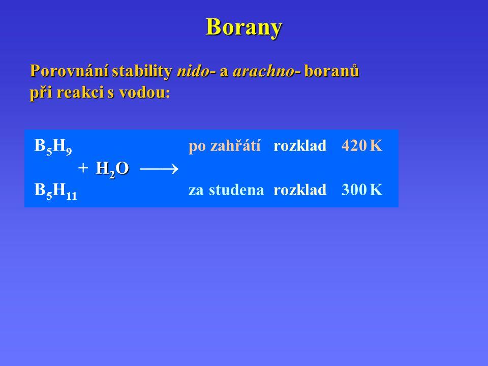 Borany H 2 O B 5 H 9 po zahřátírozklad 420 K + H 2 O  B 5 H 11 za studenarozklad 300 K Porovnání stability nido- a arachno- boranů při reakci s vodo