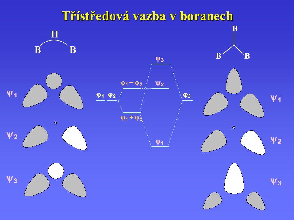 Třístředová vazba v boranech 11 22 33 11 22 33 11 22 33  1 +  2  1 –  2 11 22 33 B B B BB H