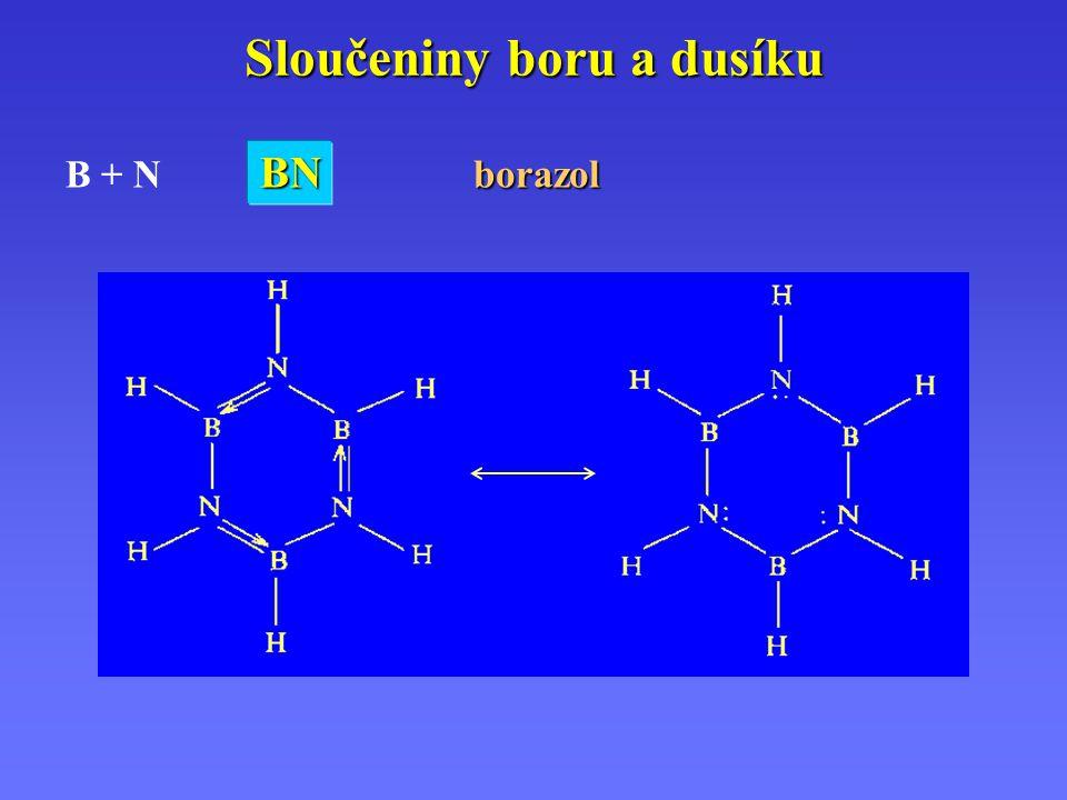 Sloučeniny boru a dusíku B + N BNBNBNBNborazol