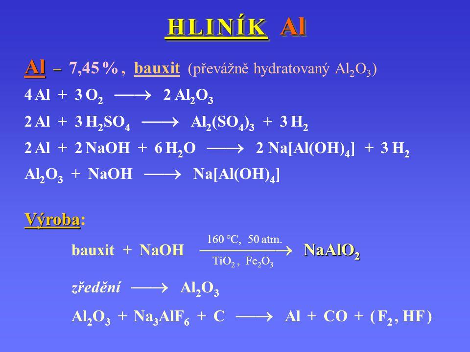 H L I N Í K Al H L I N Í K Al Al – Al – 7,45 %, bauxit (převážně hydratovaný Al 2 O 3 ) 4 Al + 3 O 2  2 Al 2 O 3 2 Al + 3 H 2 SO 4  Al 2 (SO 4 ) 3
