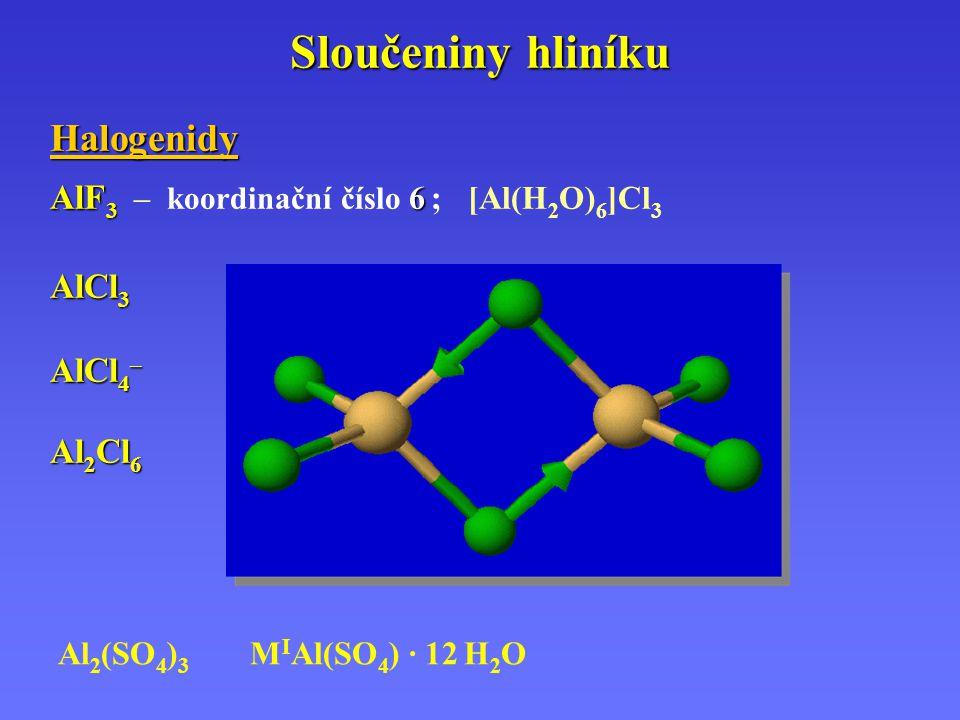 Sloučeniny hliníku Halogenidy AlF 3 6 AlF 3 – koordinační číslo 6 ; [Al(H 2 O) 6 ]Cl 3 AlCl 3 AlCl 4 – Al 2 Cl 6 Al 2 (SO 4 ) 3 M I Al(SO 4 ) · 12 H 2