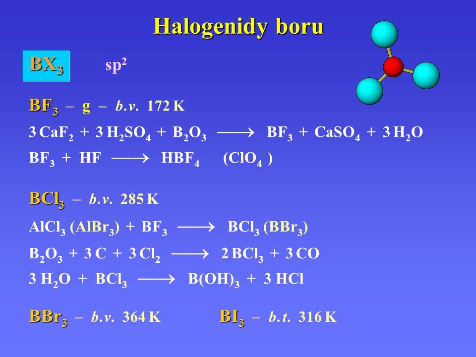 Halogenidy boru BF 3 BF 3 – g – b. v. 172 K 3 CaF 2 + 3 H 2 SO 4 + B 2 O 3  BF 3 + CaSO 4 + 3 H 2 O BF 3 + HF  HBF 4 (ClO 4 – ) BX 3 BX 3 sp 2 BCl