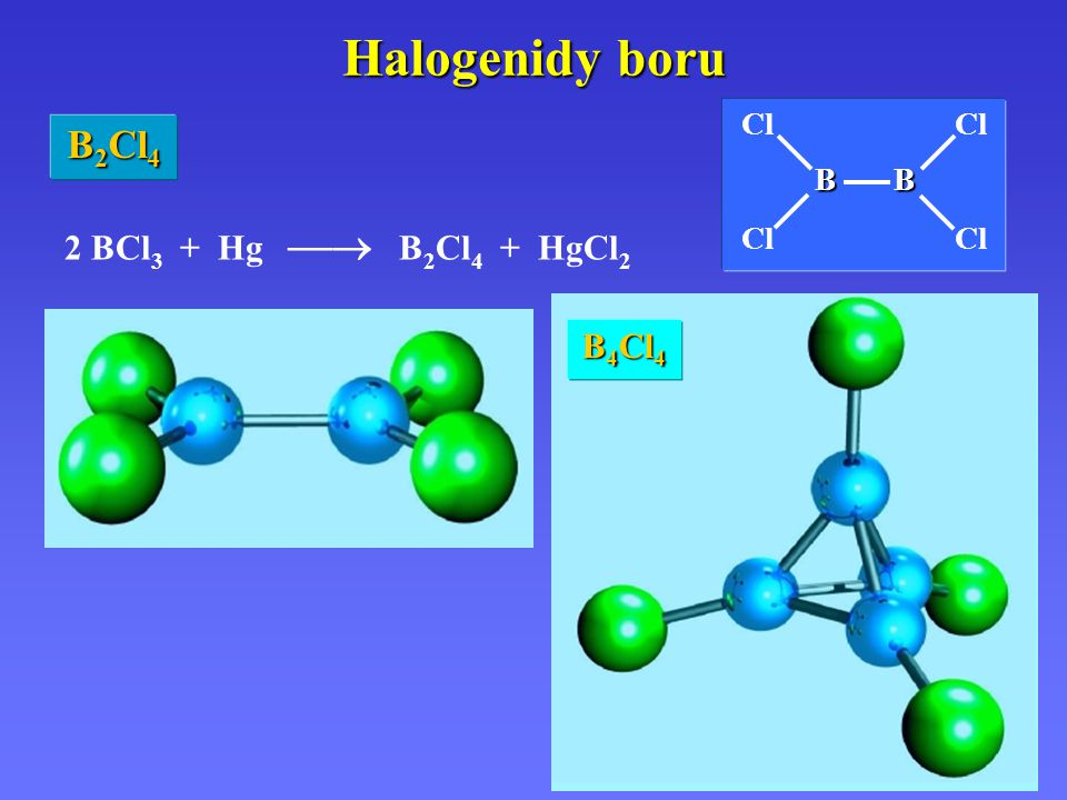 Halogenidy boru 2 BCl 3 + Hg  B 2 Cl 4 + HgCl 2 B 2 Cl 4 Cl BB B BCl B 4 Cl 4