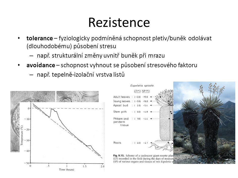 Rezistence tolerance – fyziologicky podmíněná schopnost pletiv/buněk odolávat (dlouhodobému) působení stresu – např. strukturální změny uvnitř buněk p