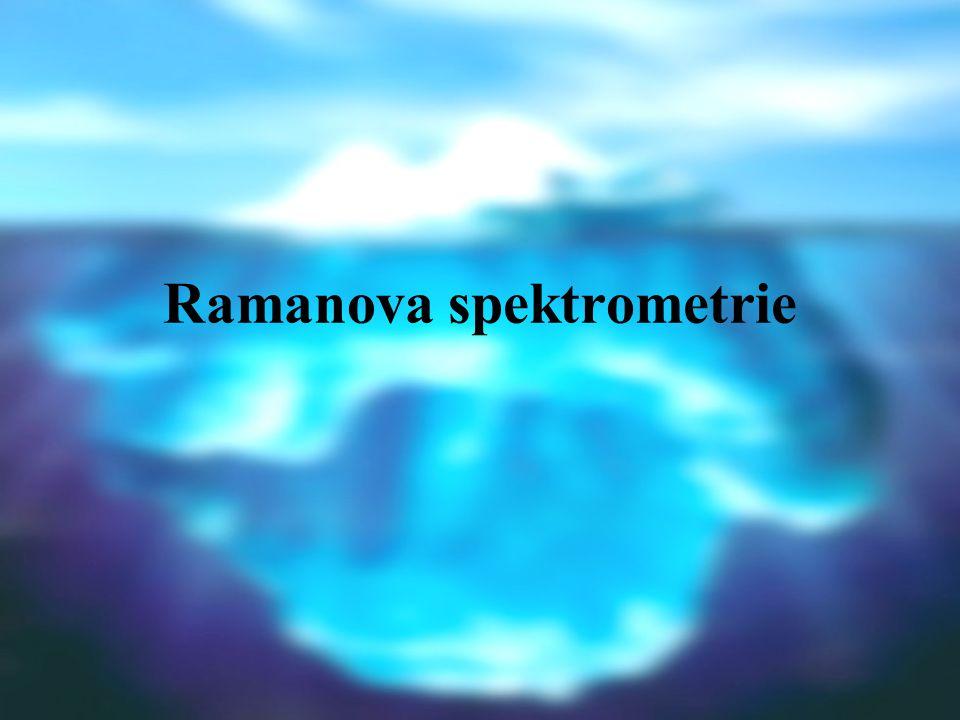 TEORETICKÝ ZÁKLAD Vzorek + monochromatické záření z UV/VIS oblasti o vlnočtu ̃ o, sledováno rozptýlené záření (kolmo na směr dopadu): pružný rozptyl na makroskopických částicích (Tyndalův) nebo molekulách (Rayleighův): ̃ = ̃ o nepružný rozptyl (výměna energie se vzorkem): ̃  ̃ o Poměr intenzity excitačního, Rayleighova a Ramanova záření: cca 1 : 10 -5 : 10 -8