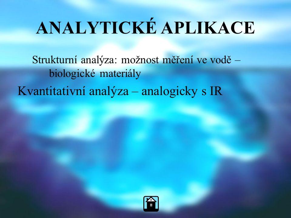ANALYTICKÉ APLIKACE Strukturní analýza: možnost měření ve vodě – biologické materiály Kvantitativní analýza – analogicky s IR