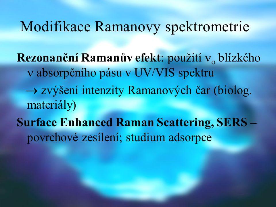 Experimentální uspořádání Zdroj monochromatického záření z UV/VIS oblasti: rtuťová výbojka (dříve), lasery (plynové nebo pevnolátkové; oblast VIS nebo blízká IR) Vzorek: plynný, kapalný, pevný Kyvety skleněné nebo nefluoreskující křemenné; vyhřívané, chlazené, rotující Rozpouštědla: vodná, organická se slabými Ramanovými pásy Detektory: dříve fotografická deska, dnes fotonásobič, event.