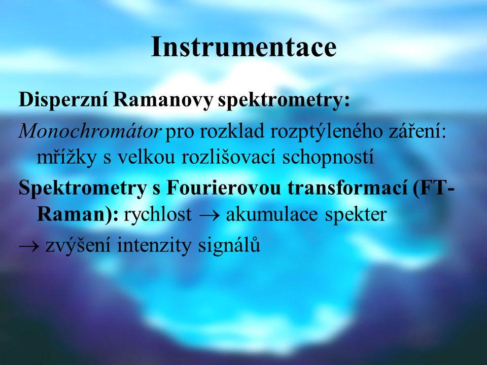 Instrumentace Disperzní Ramanovy spektrometry: Monochromátor pro rozklad rozptýleného záření: mřížky s velkou rozlišovací schopností Spektrometry s Fourierovou transformací (FT- Raman): rychlost  akumulace spekter  zvýšení intenzity signálů