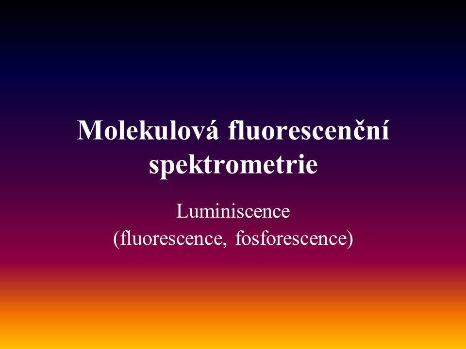 Možnosti luminiscence Podle dodání energie: a)Fotoluminiscence (UV,VIS) b)Chemiluminiscence c)Bioluminiscence d)termoluminiscence Fotolýza Senzitovaná fluorescence