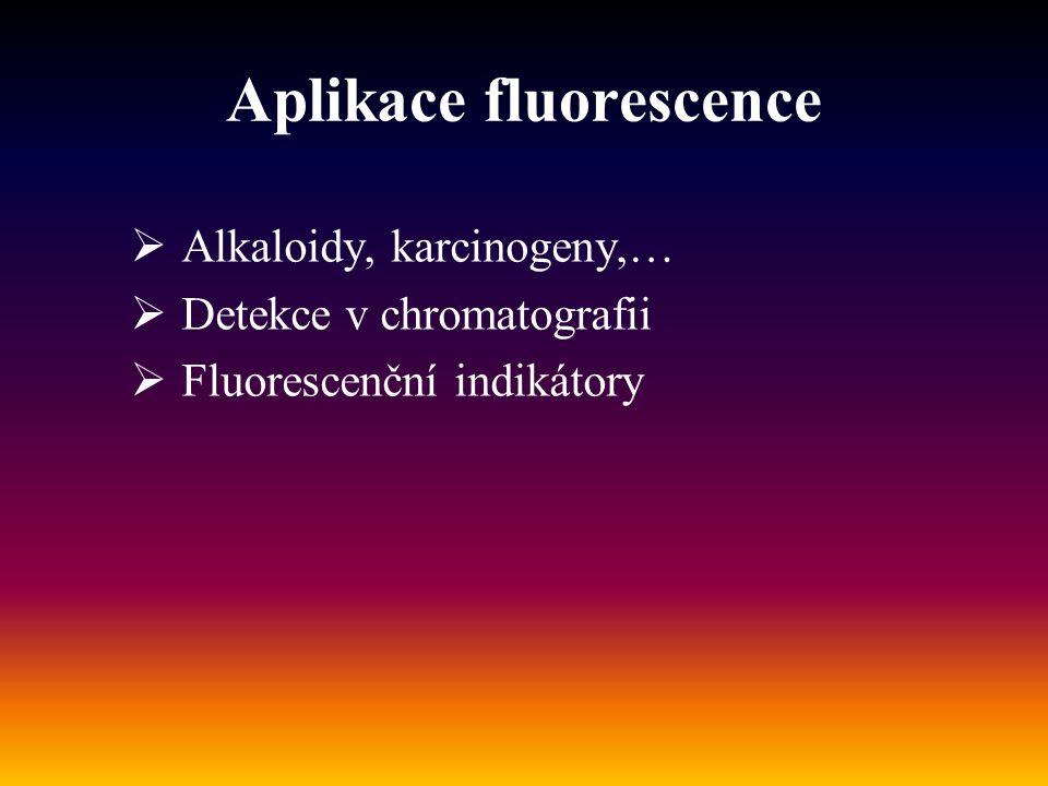 Aplikace fluorescence  Alkaloidy, karcinogeny,…  Detekce v chromatografii  Fluorescenční indikátory