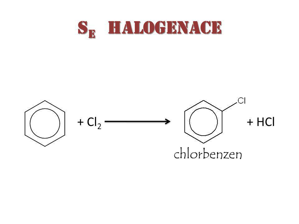 S E halogenace + Cl 2 + HCl chlorbenzen