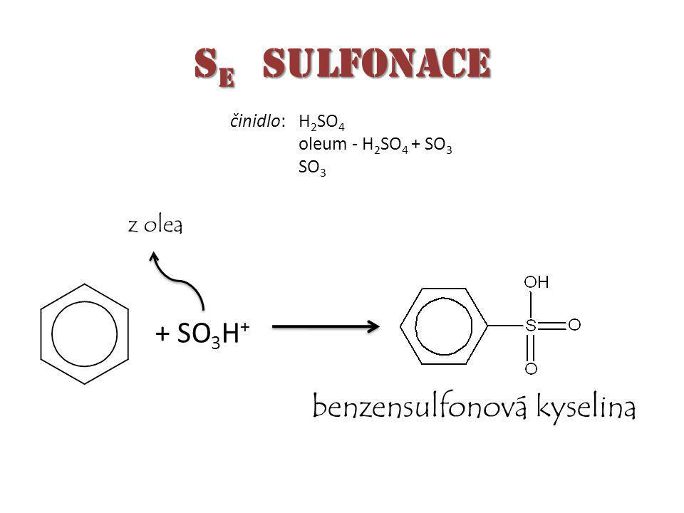 S E sulfonace + SO 3 H + benzensulfonová kyselina z olea činidlo:H 2 SO 4 oleum - H 2 SO 4 + SO 3 SO 3