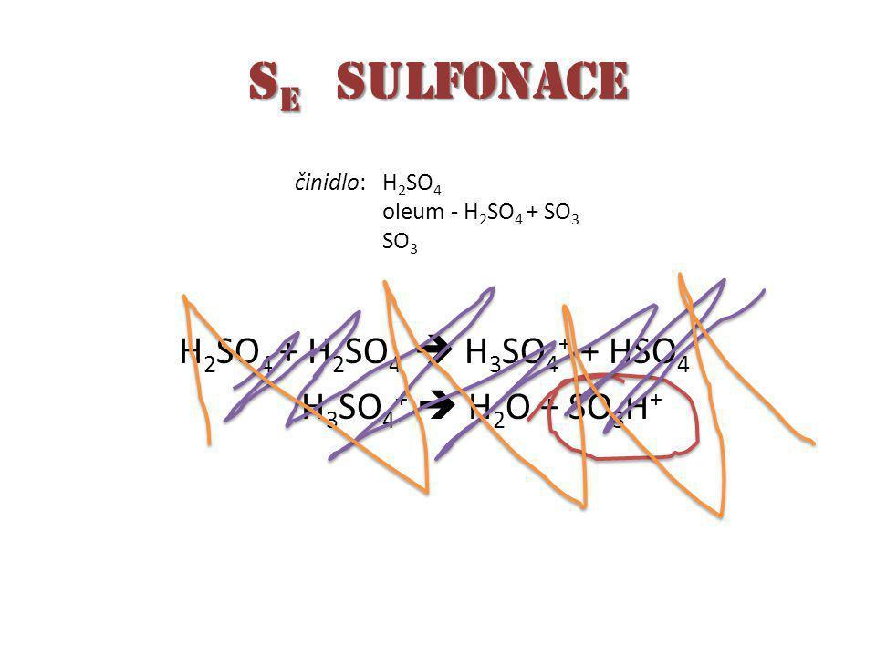 S E sulfonace H 2 SO 4 + H 2 SO 4  H 3 SO 4 + + HSO 4 - H 3 SO 4 +  H 2 O + SO 3 H + činidlo:H 2 SO 4 oleum - H 2 SO 4 + SO 3 SO 3