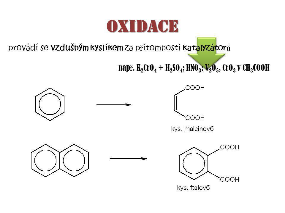 oxidace provádí se vzdušným kyslíkem za p ř ítomnosti katalyzátor ů nap ř.