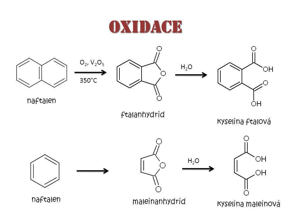 oxidace kyselina ftalová 350°C H2OH2O naftalen ftalanhydrid O 2, V 2 O 5 naftalen kyselina maleinová maleinanhydrid H2OH2O