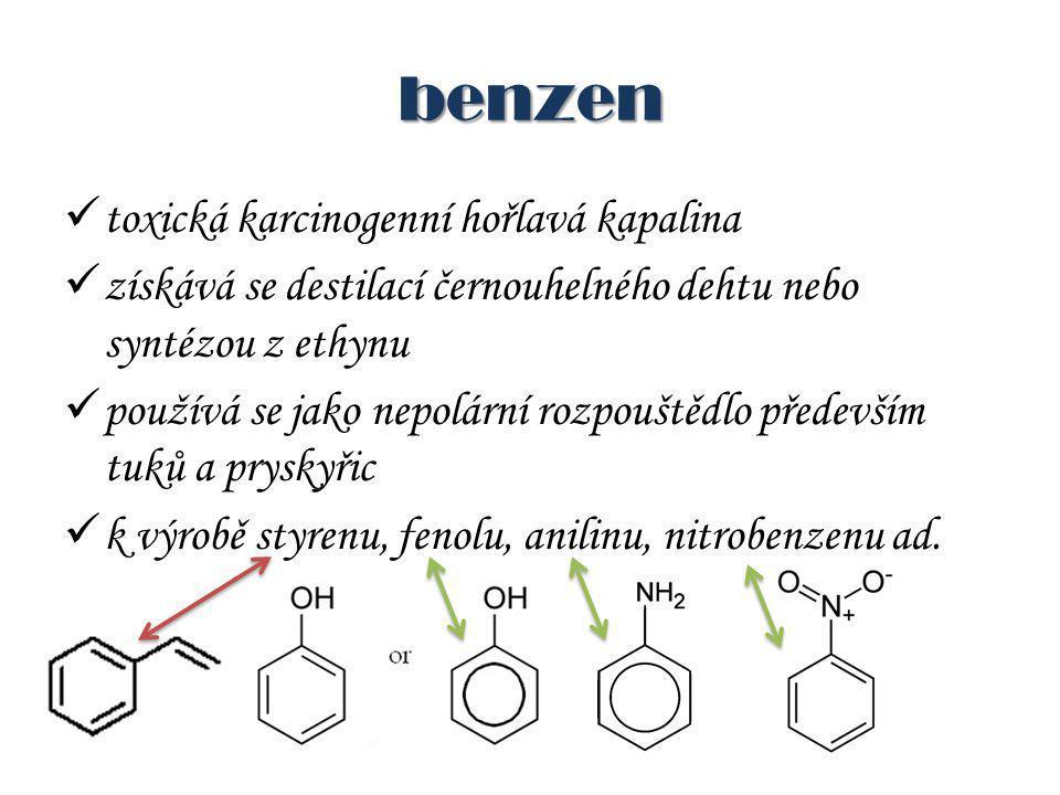 benzen toxická karcinogenní hořlavá kapalina získává se destilací černouhelného dehtu nebo syntézou z ethynu používá se jako nepolární rozpouštědlo především tuků a pryskyřic k výrobě styrenu, fenolu, anilinu, nitrobenzenu ad.