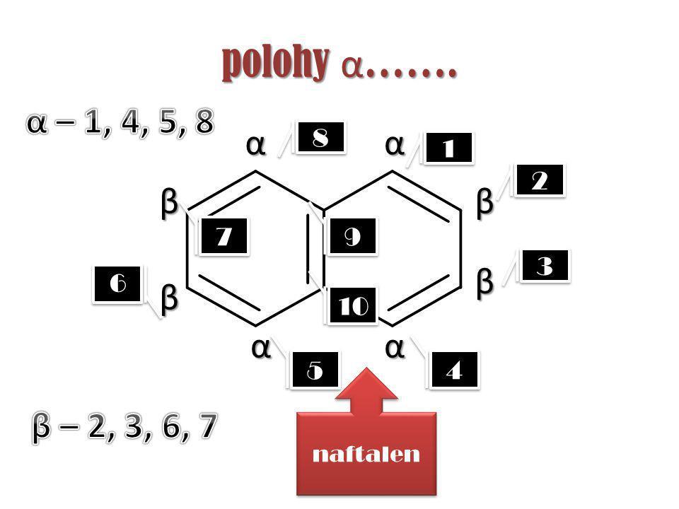5 5 polohy α ……. naftalen α β α α α ββ β 1 1 2 2 3 3 4 4 7 7 9 9 8 8 9 9 10