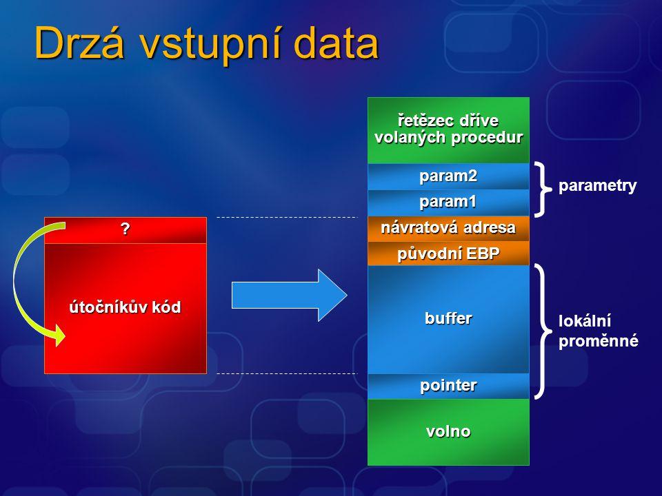 Drzá vstupní data návratová adresa řetězec dříve volaných procedur param2 param1 původní EBP pointer buffer volno parametry lokální proměnné vstupní data útočníkův kód ?