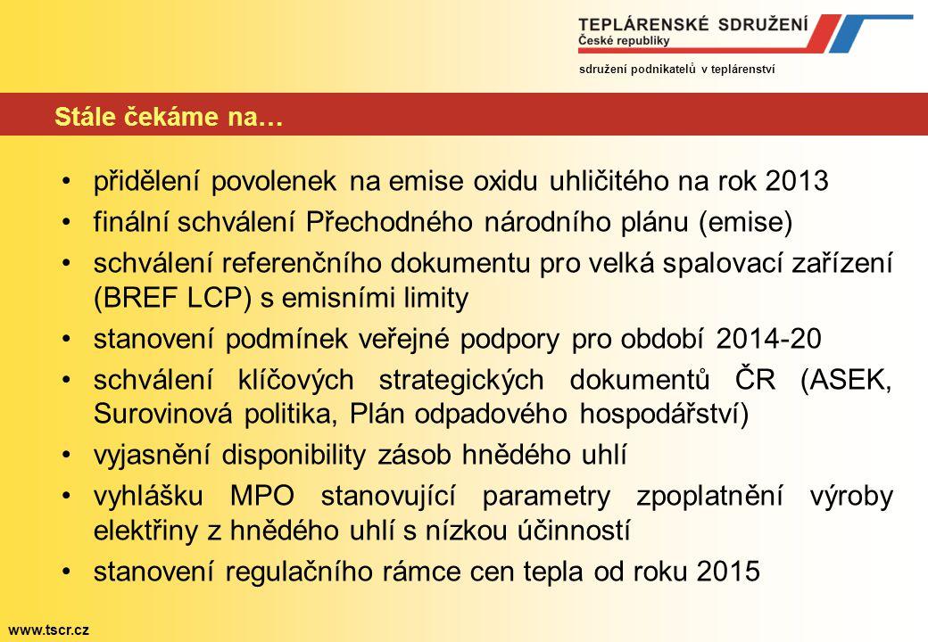 sdružení podnikatelů v teplárenství www.tscr.cz Stále čekáme na… přidělení povolenek na emise oxidu uhličitého na rok 2013 finální schválení Přechodného národního plánu (emise) schválení referenčního dokumentu pro velká spalovací zařízení (BREF LCP) s emisními limity stanovení podmínek veřejné podpory pro období 2014-20 schválení klíčových strategických dokumentů ČR (ASEK, Surovinová politika, Plán odpadového hospodářství) vyjasnění disponibility zásob hnědého uhlí vyhlášku MPO stanovující parametry zpoplatnění výroby elektřiny z hnědého uhlí s nízkou účinností stanovení regulačního rámce cen tepla od roku 2015