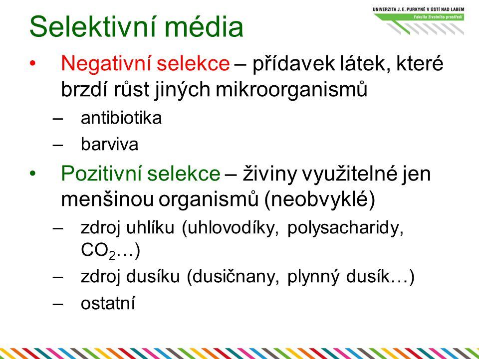Selektivní média Negativní selekce – přídavek látek, které brzdí růst jiných mikroorganismů –antibiotika –barviva Pozitivní selekce – živiny využitelné jen menšinou organismů (neobvyklé) –zdroj uhlíku (uhlovodíky, polysacharidy, CO 2 …) –zdroj dusíku (dusičnany, plynný dusík…) –ostatní