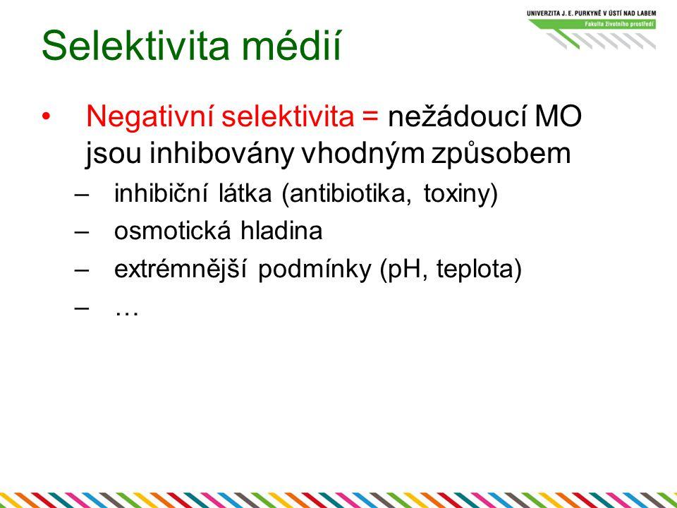 Selektivita médií Negativní selektivita = nežádoucí MO jsou inhibovány vhodným způsobem –inhibiční látka (antibiotika, toxiny) –osmotická hladina –extrémnější podmínky (pH, teplota) –…