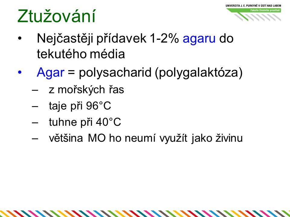 Ztužování Nejčastěji přídavek 1-2% agaru do tekutého média Agar = polysacharid (polygalaktóza) –z mořských řas –taje při 96°C –tuhne při 40°C –většina MO ho neumí využít jako živinu