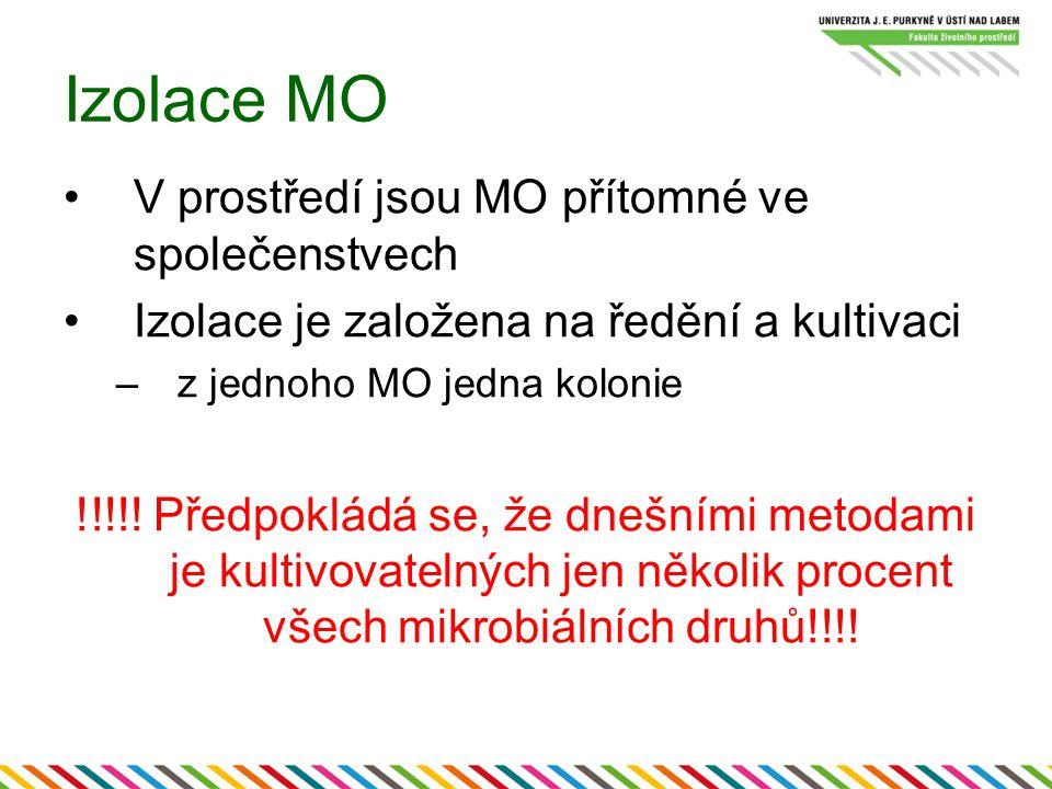 Izolace MO V prostředí jsou MO přítomné ve společenstvech Izolace je založena na ředění a kultivaci –z jednoho MO jedna kolonie !!!!.