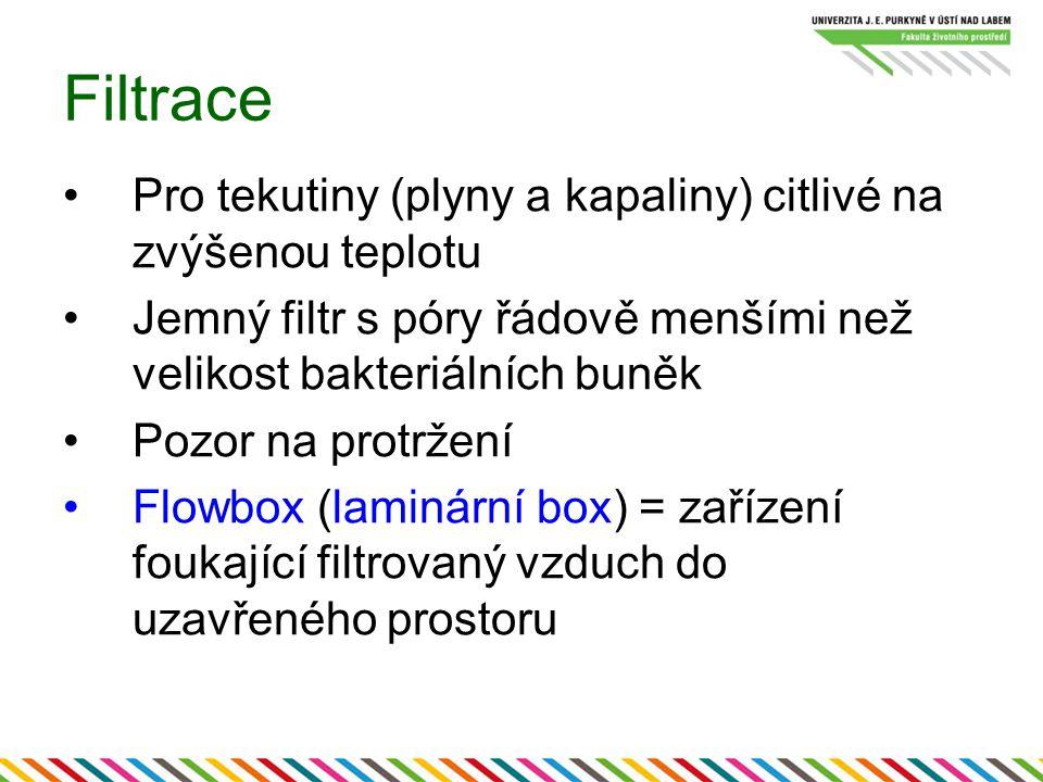 Filtrace Pro tekutiny (plyny a kapaliny) citlivé na zvýšenou teplotu Jemný filtr s póry řádově menšími než velikost bakteriálních buněk Pozor na protržení Flowbox (laminární box) = zařízení foukající filtrovaný vzduch do uzavřeného prostoru