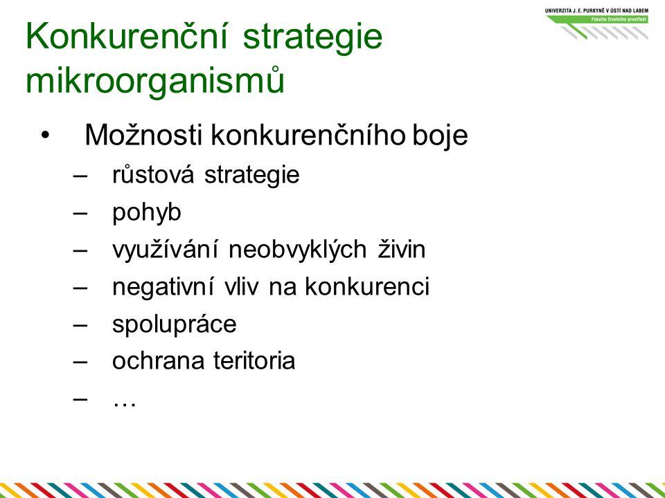 Konkurenční strategie mikroorganismů Možnosti konkurenčního boje –růstová strategie –pohyb –využívání neobvyklých živin –negativní vliv na konkurenci