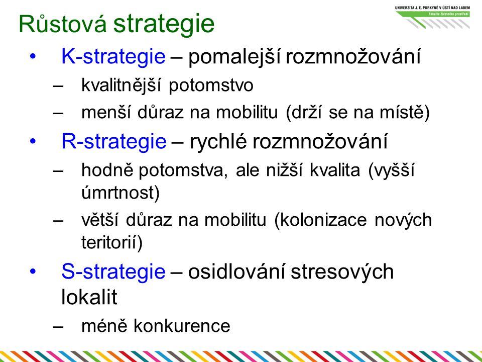 Růstová strategie K-strategie – pomalejší rozmnožování –kvalitnější potomstvo –menší důraz na mobilitu (drží se na místě) R-strategie – rychlé rozmnož