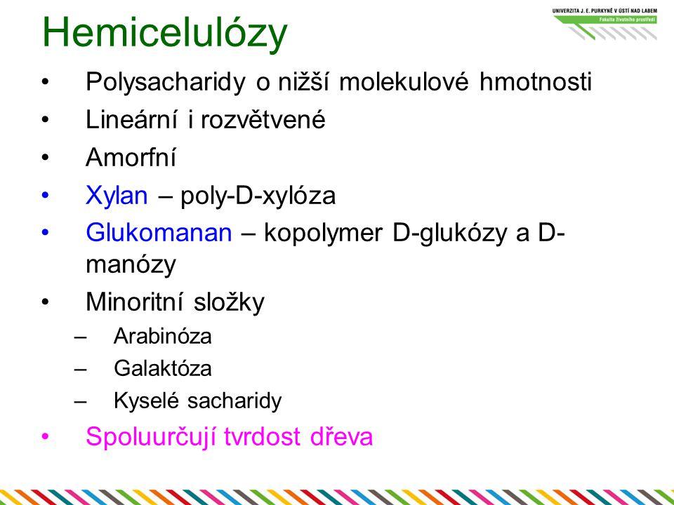 Hemicelulózy Polysacharidy o nižší molekulové hmotnosti Lineární i rozvětvené Amorfní Xylan – poly-D-xylóza Glukomanan – kopolymer D-glukózy a D- manó