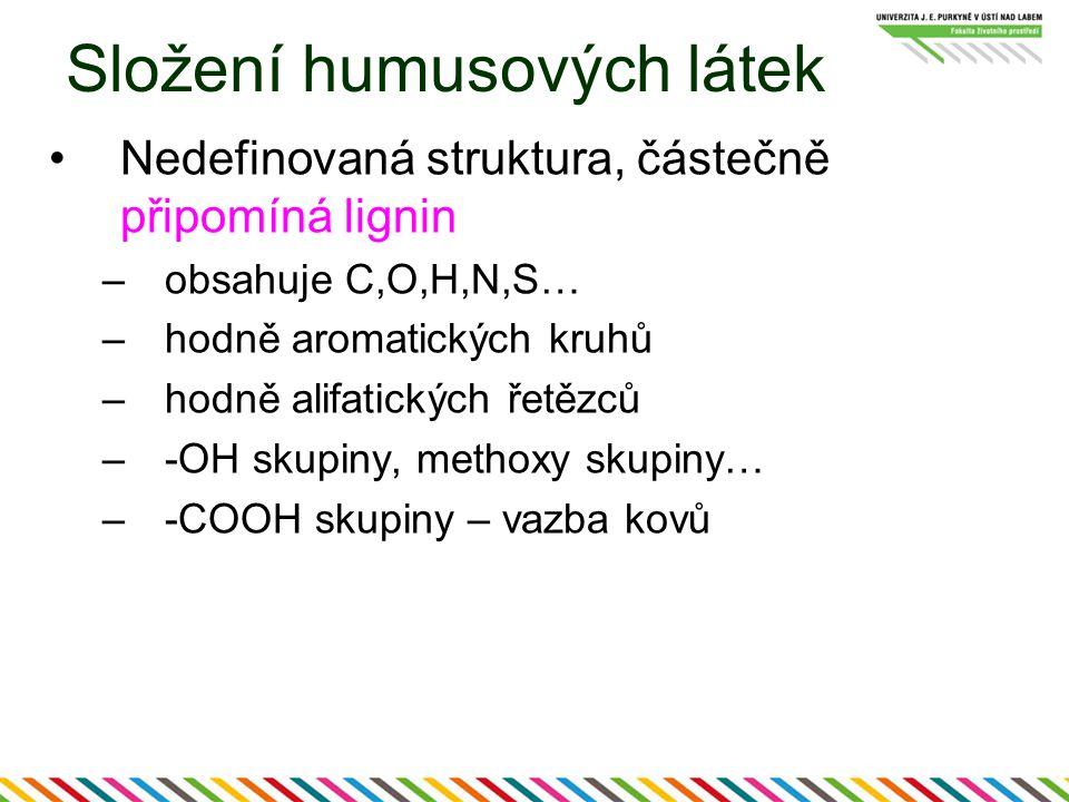 Složení humusových látek Nedefinovaná struktura, částečně připomíná lignin –obsahuje C,O,H,N,S… –hodně aromatických kruhů –hodně alifatických řetězců