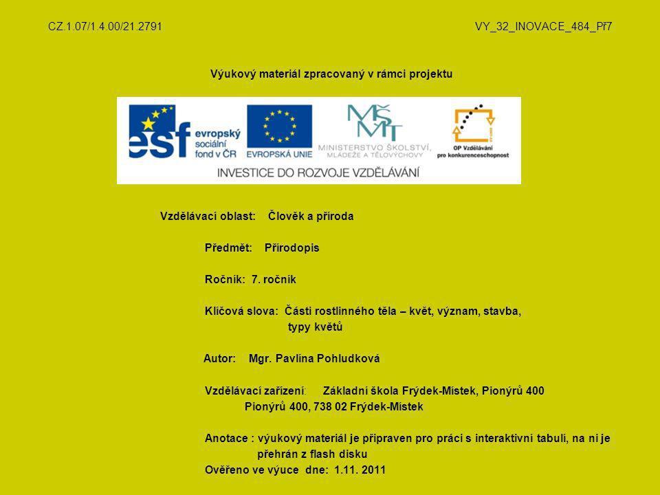 CZ.1.07/1.4.00/21.2791 VY_32_INOVACE_484_Př7 Výukový materiál zpracovaný v rámci projektu Vzdělávací oblast: Člověk a příroda Předmět: Přírodopis Ročn