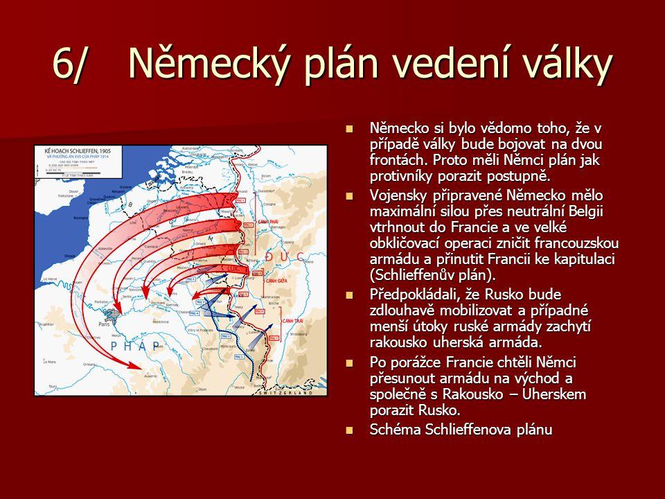 6/ Německý plán vedení války Německo si bylo vědomo toho, že v případě války bude bojovat na dvou frontách. Proto měli Němci plán jak protivníky poraz