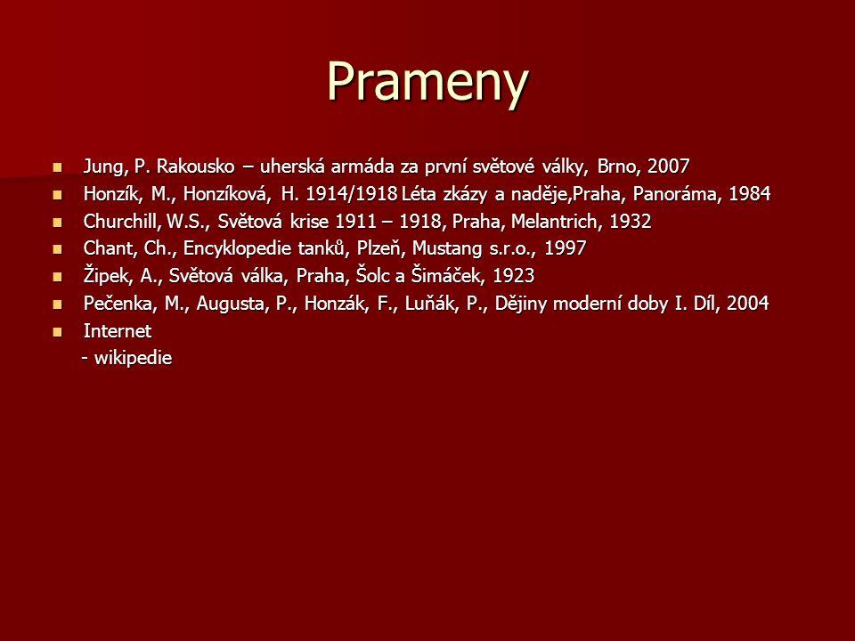 Prameny Jung, P. Rakousko – uherská armáda za první světové války, Brno, 2007 Jung, P. Rakousko – uherská armáda za první světové války, Brno, 2007 Ho