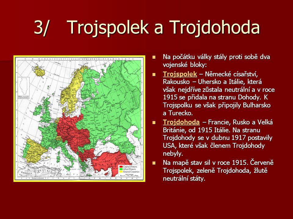 3/ Trojspolek a Trojdohoda Na počátku války stály proti sobě dva vojenské bloky: Na počátku války stály proti sobě dva vojenské bloky: Trojspolek – Ně