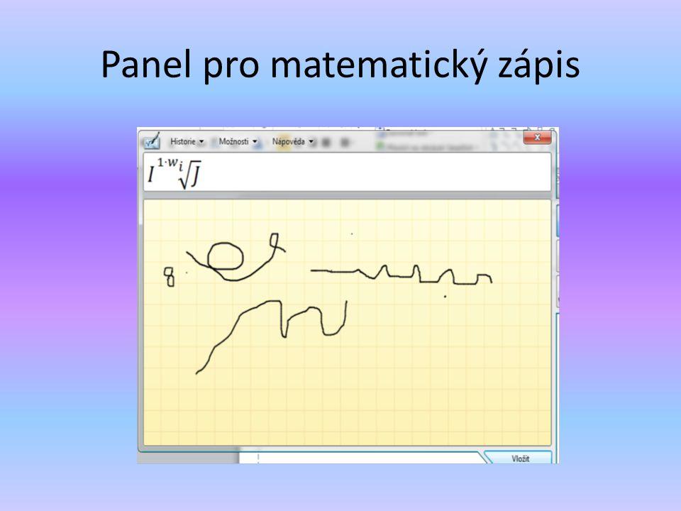 Panel pro matematický zápis
