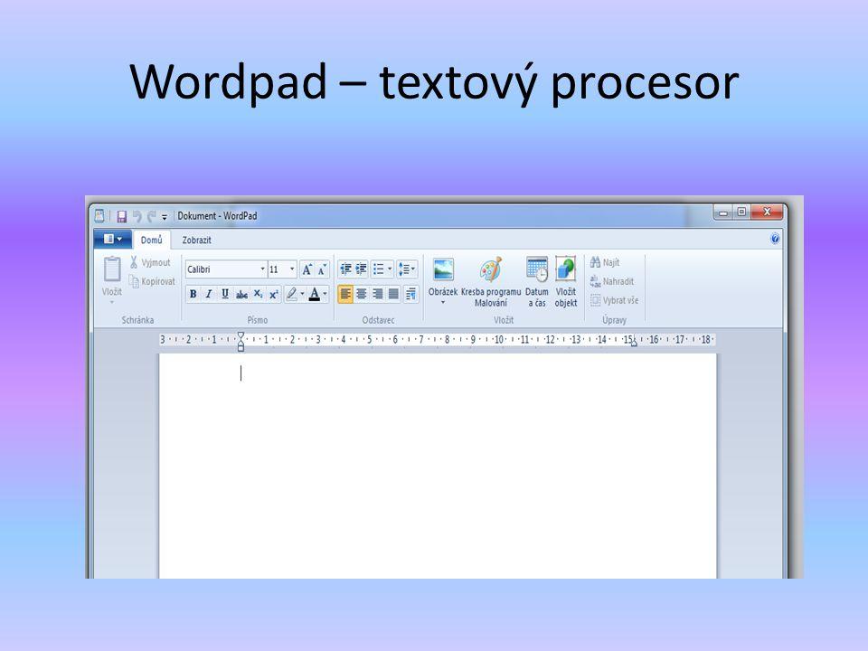 Wordpad – textový procesor