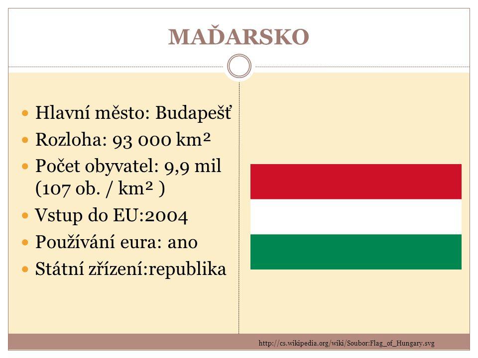 MAĎARSKO http://cs.wikipedia.org/wiki/Soubor:Flag_of_Hungary.svg Hlavní město: Budapešť Rozloha: 93 000 km² Počet obyvatel: 9,9 mil (107 ob. / km² ) V