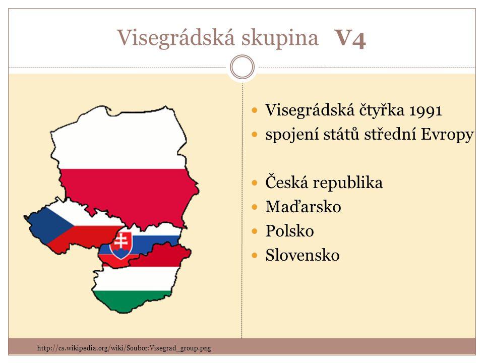 Visegrádská skupina V4 Visegrádská čtyřka 1991 spojení států střední Evropy Česká republika Maďarsko Polsko Slovensko http://cs.wikipedia.org/wiki/Soubor:Visegrad_group.png