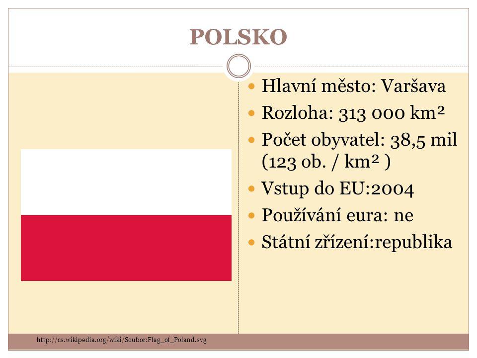 POLSKO Hlavní město: Varšava Rozloha: 313 000 km² Počet obyvatel: 38,5 mil (123 ob. / km² ) Vstup do EU:2004 Používání eura: ne Státní zřízení:republi