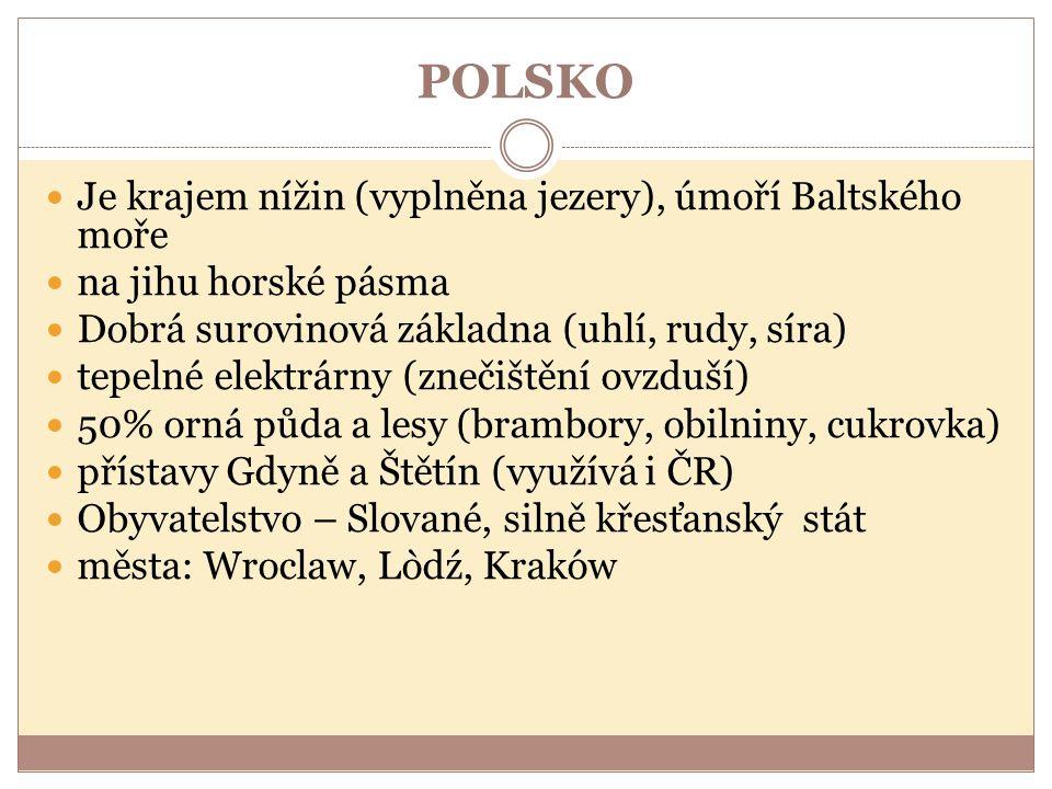POLSKO Je krajem nížin (vyplněna jezery), úmoří Baltského moře na jihu horské pásma Dobrá surovinová základna (uhlí, rudy, síra) tepelné elektrárny (znečištění ovzduší) 50% orná půda a lesy (brambory, obilniny, cukrovka) přístavy Gdyně a Štětín (využívá i ČR) Obyvatelstvo – Slované, silně křesťanský stát města: Wroclaw, Lòdź, Kraków