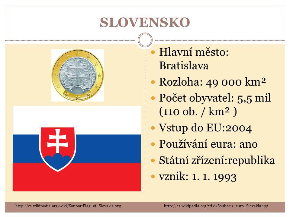 SLOVENSKO Hlavní město: Bratislava Rozloha: 49 000 km² Počet obyvatel: 5,5 mil (110 ob. / km² ) Vstup do EU:2004 Používání eura: ano Státní zřízení:re