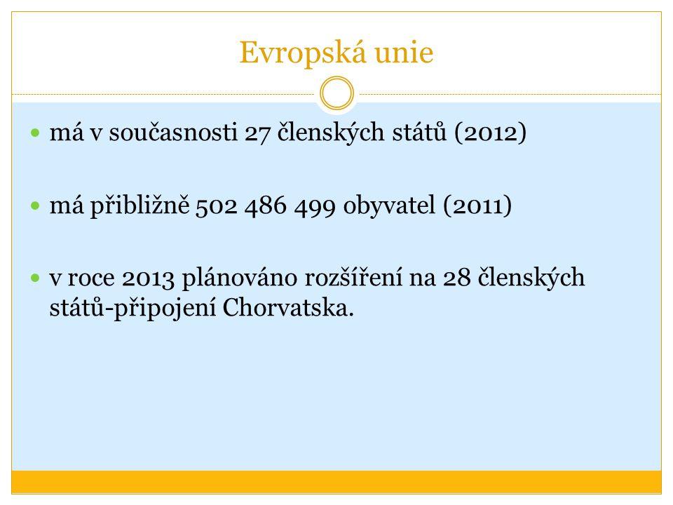 Evropská unie má v současnosti 27 členských států (2012) má přibližně 502 486 499 obyvatel (2011) v roce 2013 plánováno rozšíření na 28 členských stát