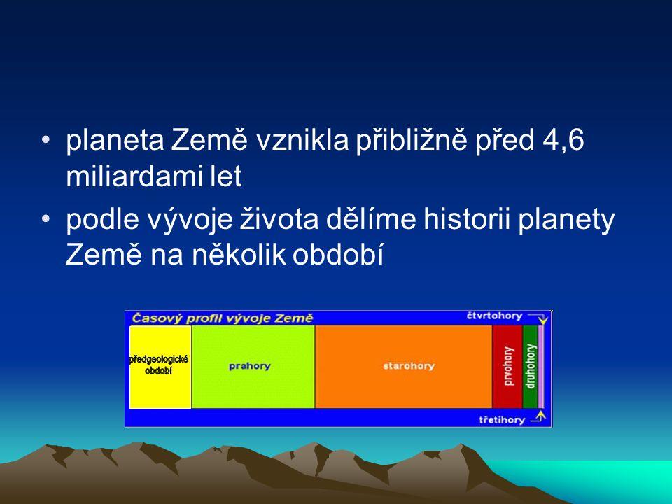 1. Předgeologické období pouze chemický vývoj před 4,6 až 4 miliardami let astronomia.zcu.cz