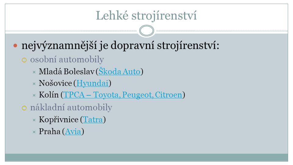 Lehké strojírenství nejvýznamnější je dopravní strojírenství:  osobní automobily  Mladá Boleslav (Škoda Auto)Škoda Auto  Nošovice (Hyundai)Hyundai