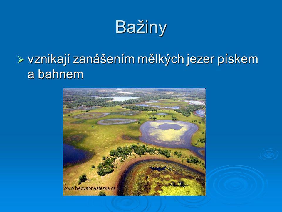 Bažiny  vznikají zanášením mělkých jezer pískem a bahnem www.hedvabnastezka.cz